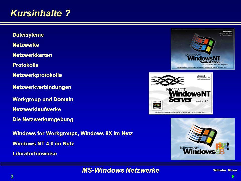 Wilhelm Moser MS-Windows Netzwerke Dateisyteme - FAT & NTFS Windows NT unterstützt FAT16 und NTFS NICHT jedoch FAT32(Windows95b und 98) FAT16 (File Allocation Table 16) DAS Standarddateisystem mit der größten Verbreitung.