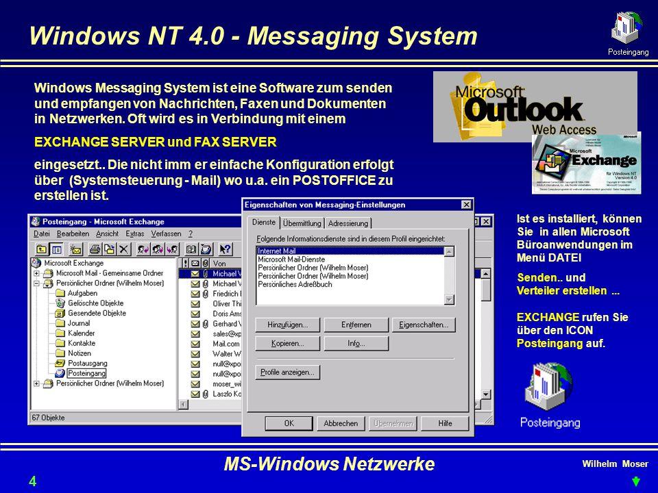 Wilhelm Moser MS-Windows Netzwerke Windows NT 4.0 - Messaging System Windows Messaging System ist eine Software zum senden und empfangen von Nachrichten, Faxen und Dokumenten in Netzwerken.