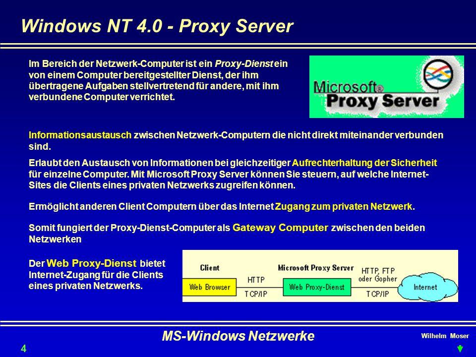 Wilhelm Moser MS-Windows Netzwerke Windows NT 4.0 - Proxy Server 47 Im Bereich der Netzwerk-Computer ist ein Proxy-Dienst ein von einem Computer bereitgestellter Dienst, der ihm übertragene Aufgaben stellvertretend für andere, mit ihm verbundene Computer verrichtet.