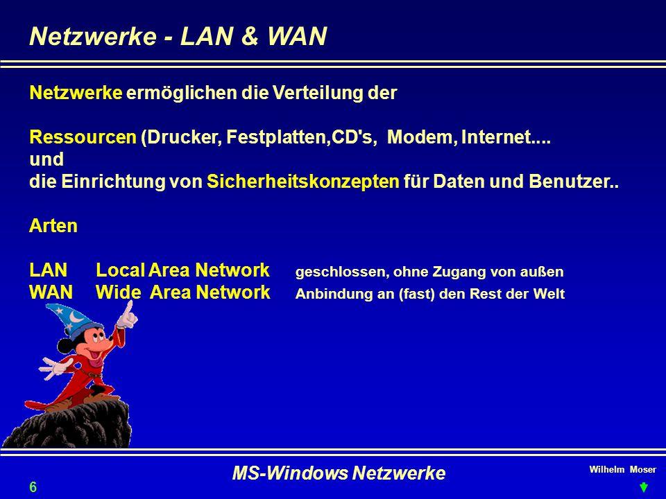 Wilhelm Moser MS-Windows Netzwerke Netzwerke - LAN & WAN Netzwerke ermöglichen die Verteilung der Ressourcen (Drucker, Festplatten,CD s, Modem, Internet....