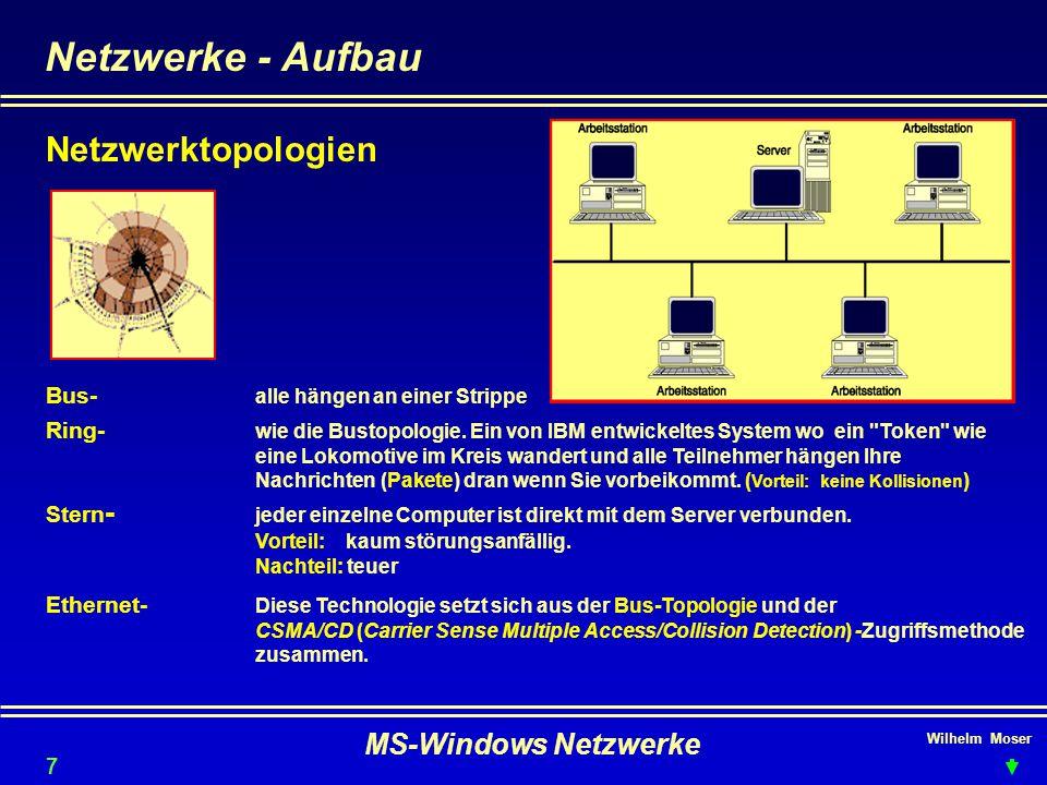 Wilhelm Moser MS-Windows Netzwerke Netzwerke - Kabel und Übertragung Kabel 2 Draht-Leitung 19,2 KBit/s 4 Draht-Leitung verdrillt (twisted) UTP/STP) 16 MBit/s Twisted-PairStandard derzeit 100 MBit/s Koaxialkabel RG58 (Basisband)Standard 10 Mbit/s 50 MBit/s Koaxialkabel (Breitband) 500 Mbit/s Lichtwellenleiter LWLüblich 2 GHz Andere wenig gebräuchliche Verfahren sind: Mikrowelle (terrestrische- & Satelliten-) Laser Infrarot (im Kommen) Hochfrequenz (Radiowellen) 8 Übertragungs-simplex ein Sender, ein od- mehrere Empfänger ONE WAY technikduplex senden und empfangen NICHT gleichzeitig Vollduplex senden und empfangen gleichzeitig Übertragungs-asynchron Sender u.
