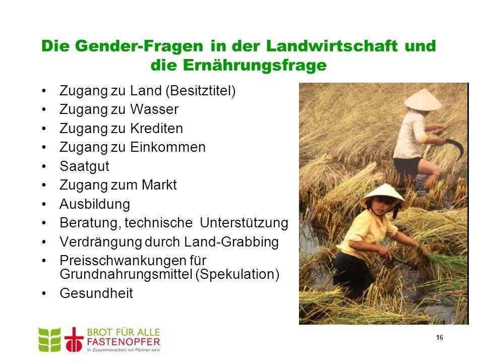 Die Gender-Fragen in der Landwirtschaft und die Ernährungsfrage Zugang zu Land (Besitztitel) Zugang zu Wasser Zugang zu Krediten Zugang zu Einkommen S
