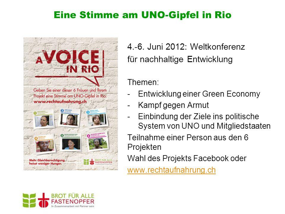 Eine Stimme am UNO-Gipfel in Rio 4.-6. Juni 2012: Weltkonferenz für nachhaltige Entwicklung Themen: -Entwicklung einer Green Economy -Kampf gegen Armu