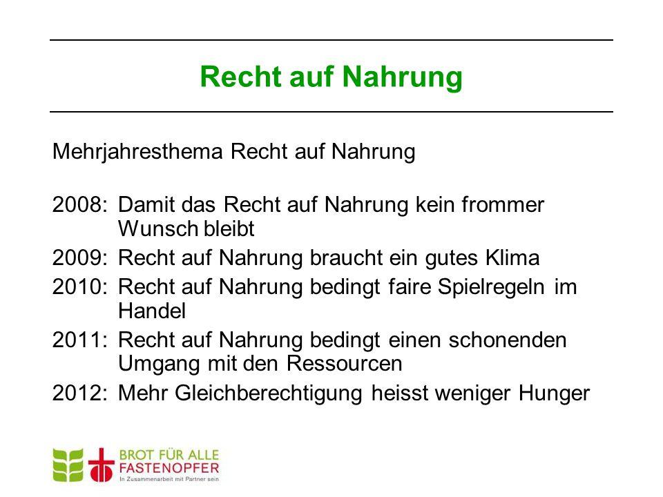 Mehrjahresthema Recht auf Nahrung 2008: Damit das Recht auf Nahrung kein frommer Wunsch bleibt 2009: Recht auf Nahrung braucht ein gutes Klima 2010: R
