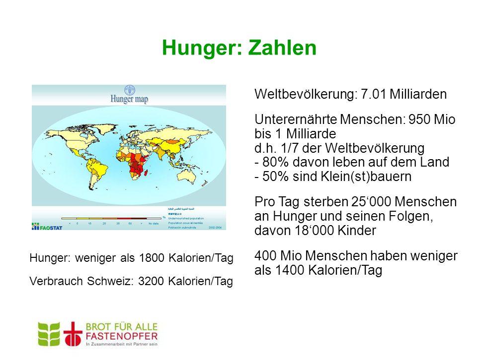 Hunger: Zahlen Weltbevölkerung: 7.01 Milliarden Unterernährte Menschen: 950 Mio bis 1 Milliarde d.h. 1/7 der Weltbevölkerung - 80% davon leben auf dem