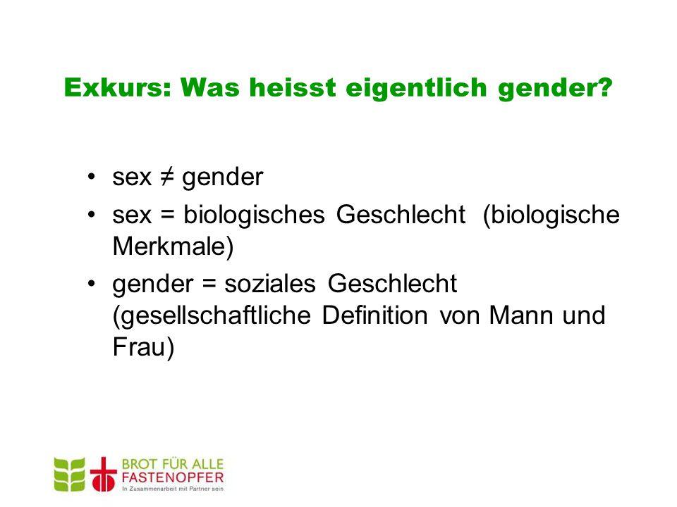 Exkurs: Was heisst eigentlich gender? sex ≠ gender sex = biologisches Geschlecht (biologische Merkmale) gender = soziales Geschlecht (gesellschaftlich