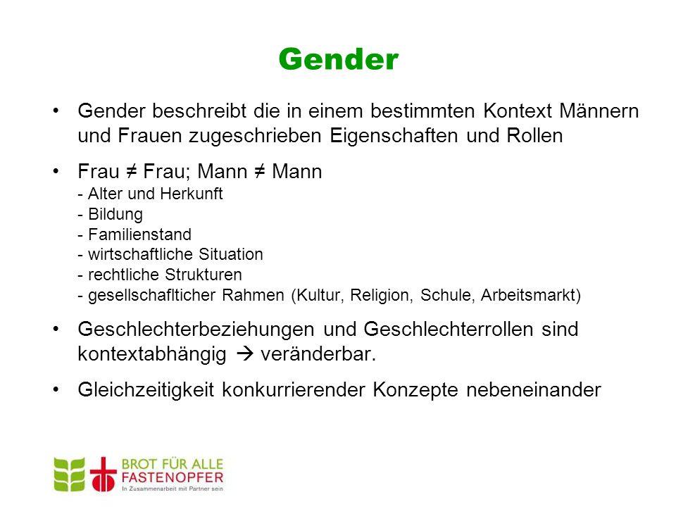 Gender Gender beschreibt die in einem bestimmten Kontext Männern und Frauen zugeschrieben Eigenschaften und Rollen Frau ≠ Frau; Mann ≠ Mann - Alter un