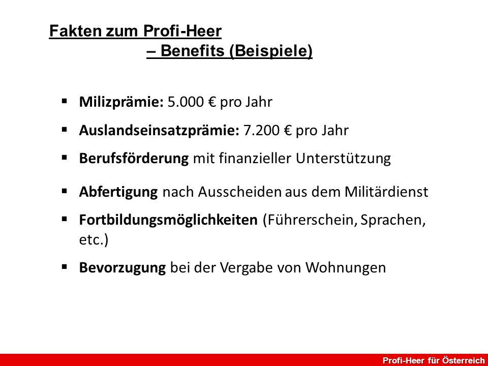  Milizprämie: 5.000 € pro Jahr  Auslandseinsatzprämie: 7.200 € pro Jahr  Berufsförderung mit finanzieller Unterstützung  Abfertigung nach Ausschei