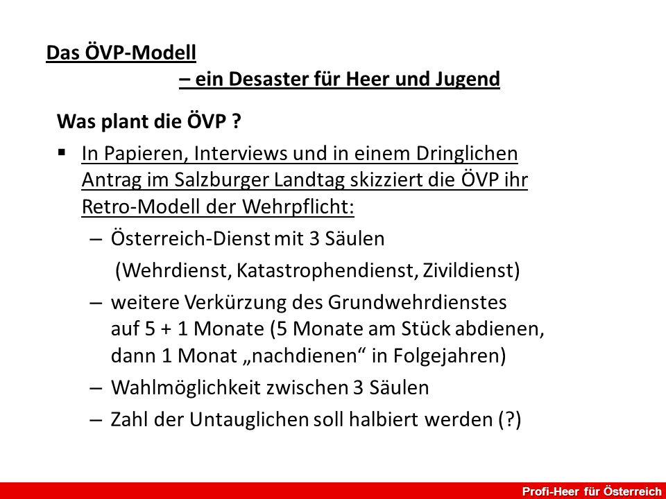 Profi-Heer für Österreich Das ÖVP-Modell – ein Desaster für Heer und Jugend Was plant die ÖVP ?  In Papieren, Interviews und in einem Dringlichen Ant