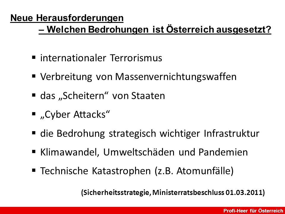 """ internationaler Terrorismus  Verbreitung von Massenvernichtungswaffen  das """"Scheitern"""" von Staaten  """"Cyber Attacks""""  die Bedrohung strategisch w"""
