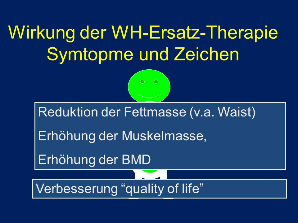 """Reduktion der Fettmasse (v.a. Waist) Erhöhung der Muskelmasse, Erhöhung der BMD Verbesserung """"quality of life"""" Wirkung der WH-Ersatz-Therapie Symtopme"""