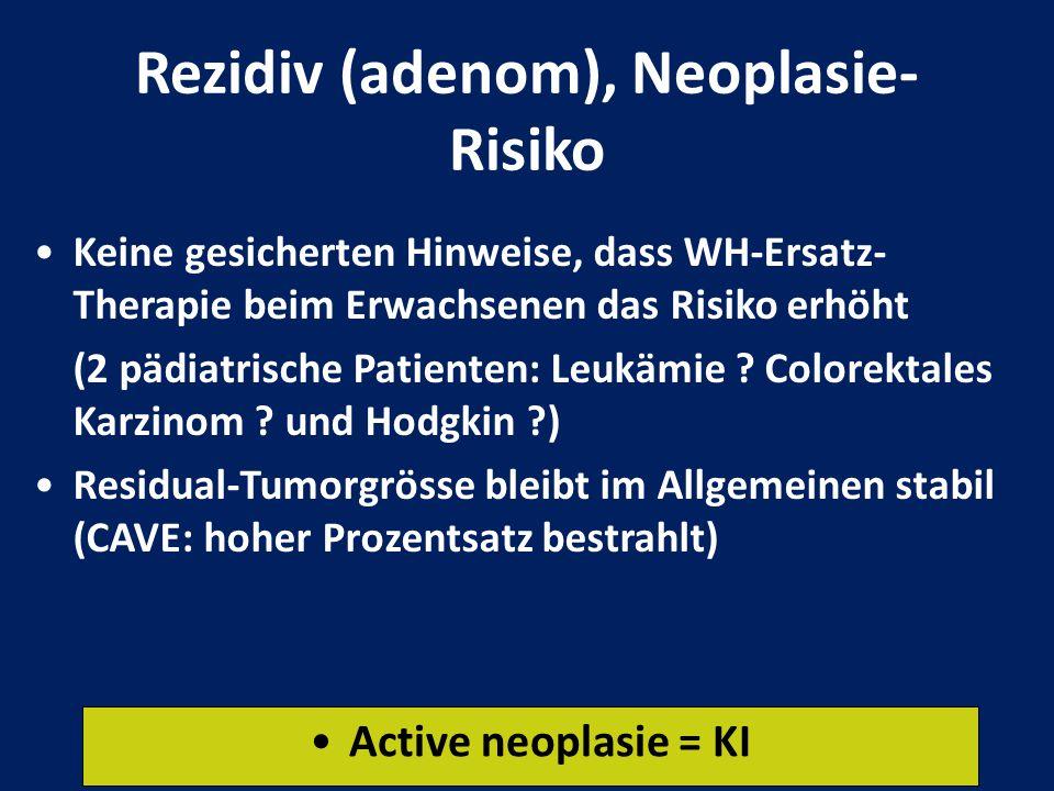 Rezidiv (adenom), Neoplasie- Risiko Keine gesicherten Hinweise, dass WH-Ersatz- Therapie beim Erwachsenen das Risiko erhöht (2 pädiatrische Patienten:
