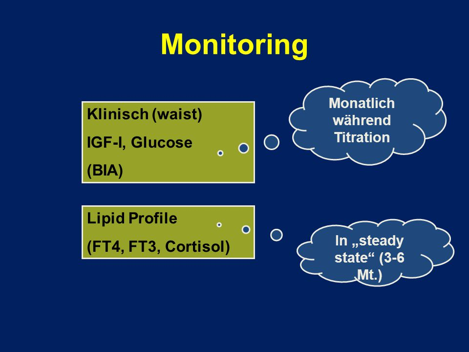 "Monitoring Klinisch (waist) IGF-I, Glucose (BIA) Lipid Profile (FT4, FT3, Cortisol) Monatlich während Titration In ""steady state"" (3-6 Mt.)"