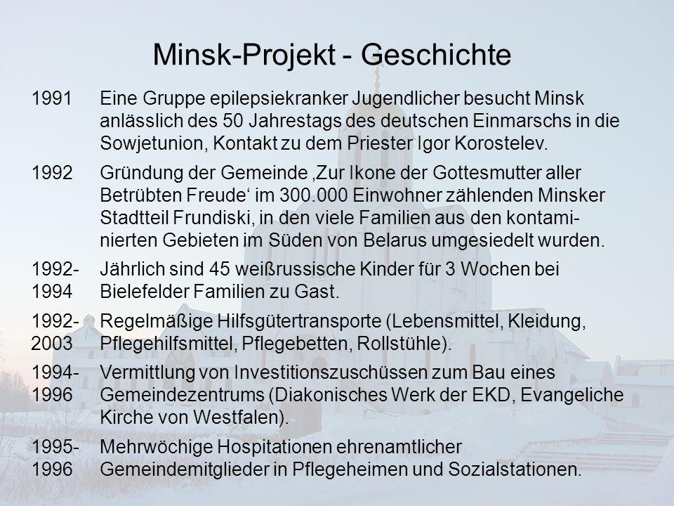 Minsk-Projekt - Geschichte 1996- 2004 Aufbau einer Diakoniestation mit heute 4 hauptamtlichen Gemeindeschwestern zusätzlich zu den 40 Ehrenamtlichen.
