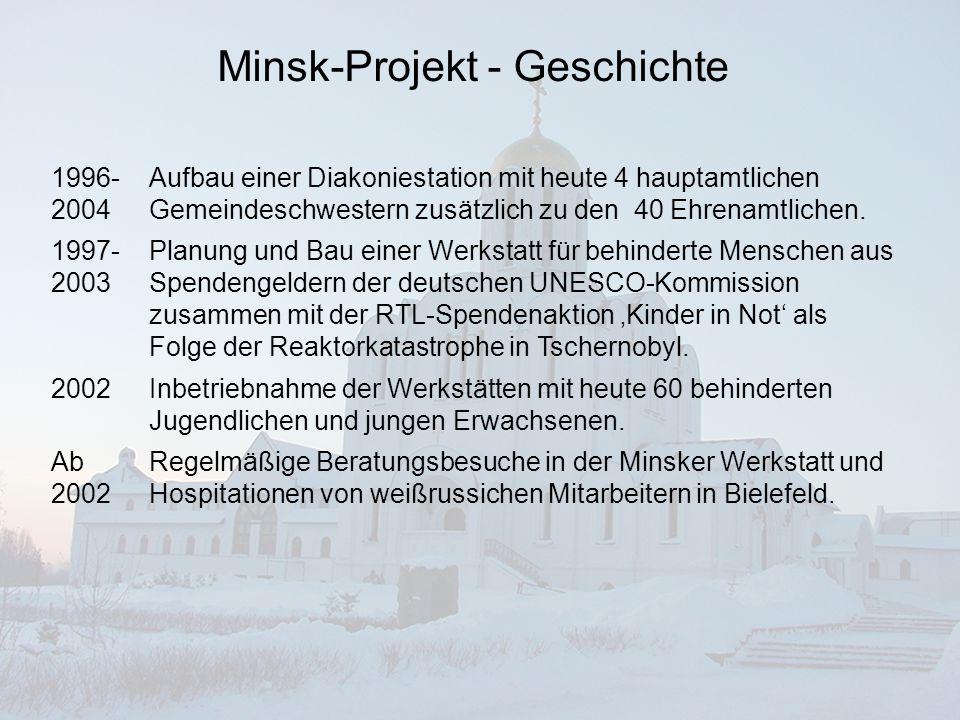 Minsk-Projekt Bestehende Freundeskreise Bielefelder Bürger und Mitarbeiter Bethels unterstützen die Gemeinde in Minsk auf privater Basis seit 1992.