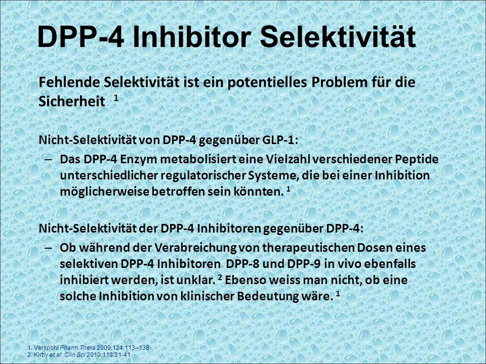Fehlende Selektivität ist ein potentielles Problem für die Sicherheit 1 Nicht-Selektivität von DPP-4 gegenüber GLP-1: – Das DPP-4 Enzym metabolisiert