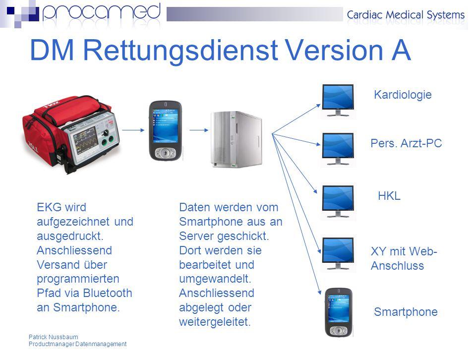 Patrick Nussbaum Productmanager Datenmanagement DM Rettungsdienst Version A Kardiologie Pers.