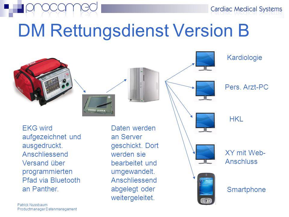Patrick Nussbaum Productmanager Datenmanagement DM Rettungsdienst Version B Kardiologie Pers.