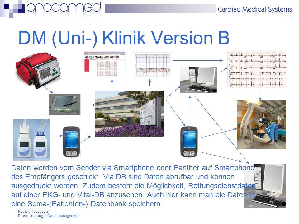 Patrick Nussbaum Productmanager Datenmanagement DM (Uni-) Klinik Version B Daten werden vom Sender via Smartphone oder Panther auf Smartphone des Empfängers geschickt.
