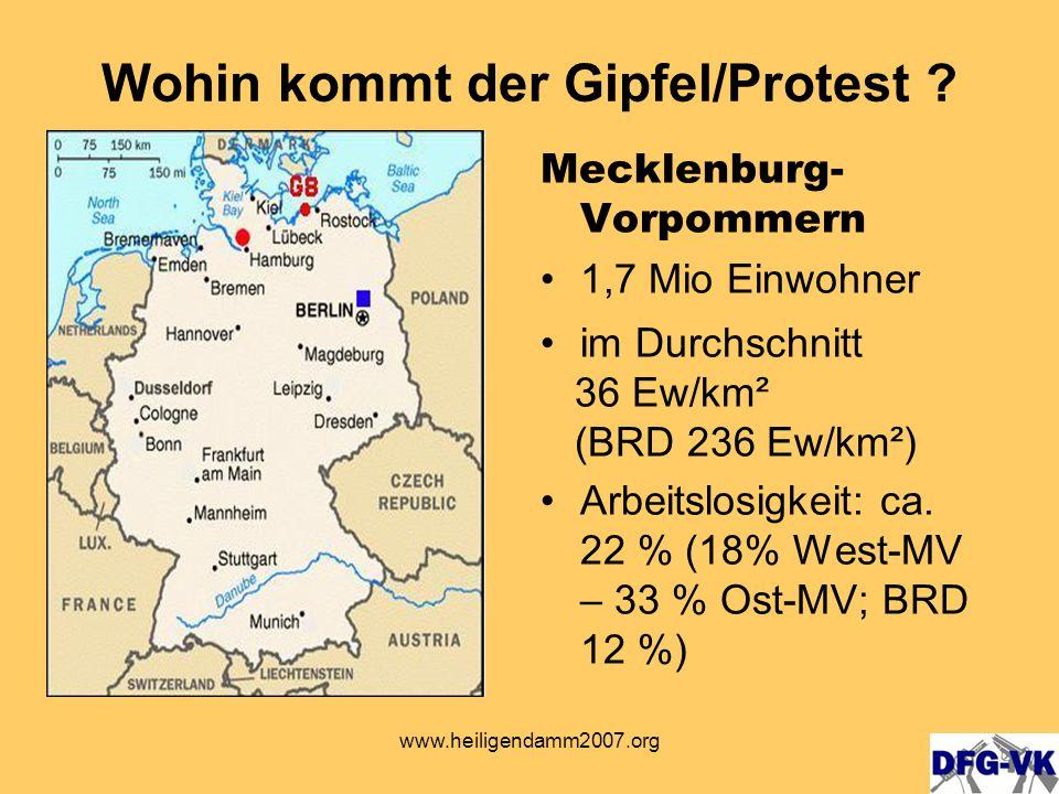 www.heiligendamm2007.org Stadt Rostock - 199.000 Einwohner in der Stadt - größte Stadt in M-V Wohin kommt der Gipfel / Protest?
