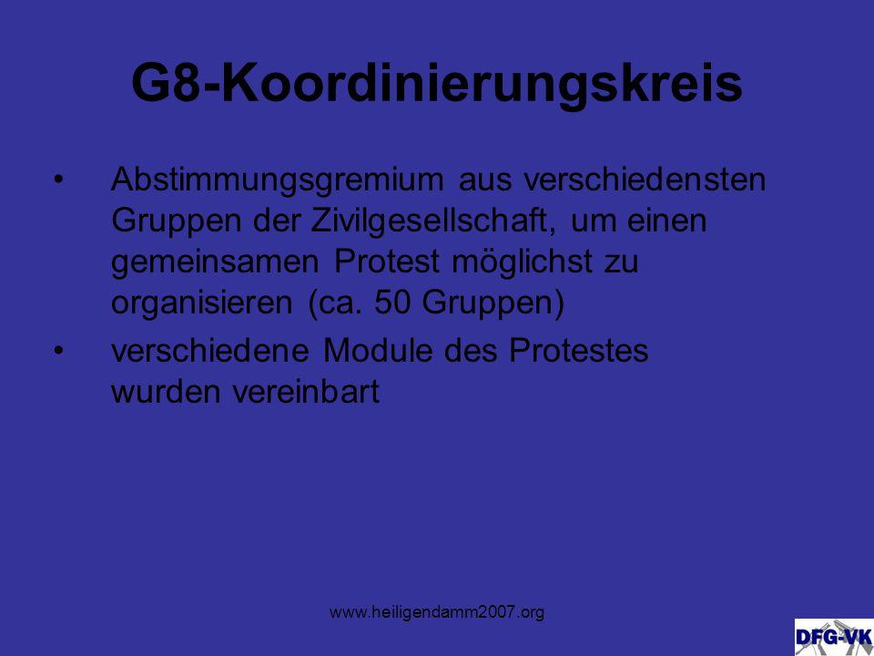 G8-Koordinierungskreis Abstimmungsgremium aus verschiedensten Gruppen der Zivilgesellschaft, um einen gemeinsamen Protest möglichst zu organisieren (ca.