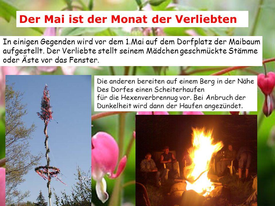 Der Mai ist der Monat der Verliebten In einigen Gegenden wird vor dem 1.Mai auf dem Dorfplatz der Maibaum aufgestellt. Der Verliebte stellt seinem Mäd