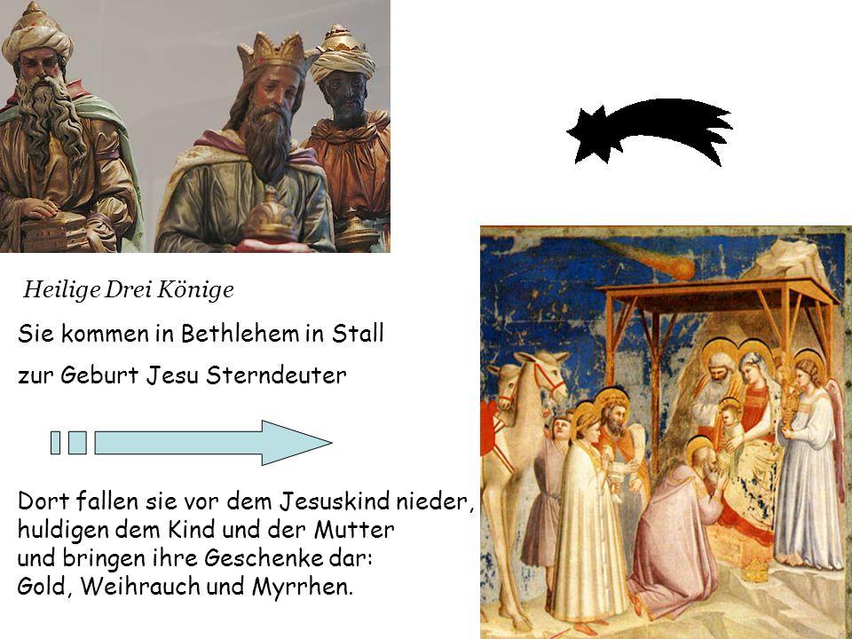 Heilige Drei Könige Sie kommen in Bethlehem in Stall zur Geburt Jesu Sterndeuter Dort fallen sie vor dem Jesuskind nieder, huldigen dem Kind und der M