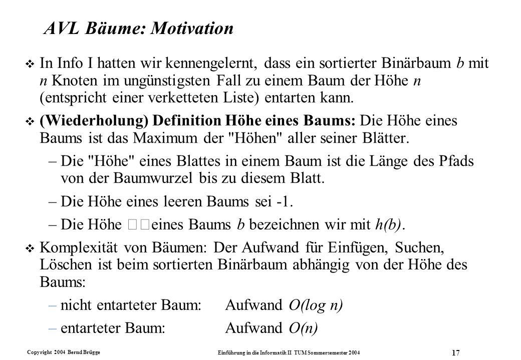 Copyright 2004 Bernd Brügge Einführung in die Informatik II TUM Sommersemester 2004 17 AVL Bäume: Motivation v In Info I hatten wir kennengelernt, das