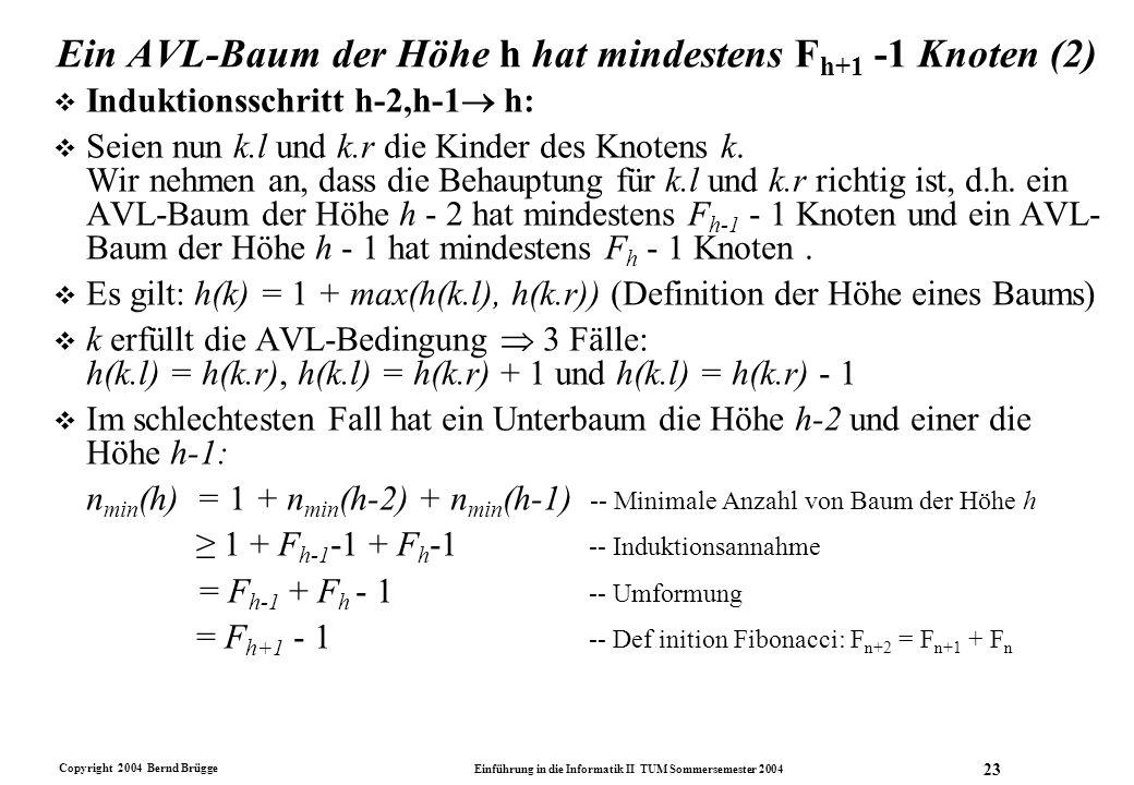 Copyright 2004 Bernd Brügge Einführung in die Informatik II TUM Sommersemester 2004 23 Ein AVL-Baum der Höhe h hat mindestens F h+1 -1 Knoten (2) v In