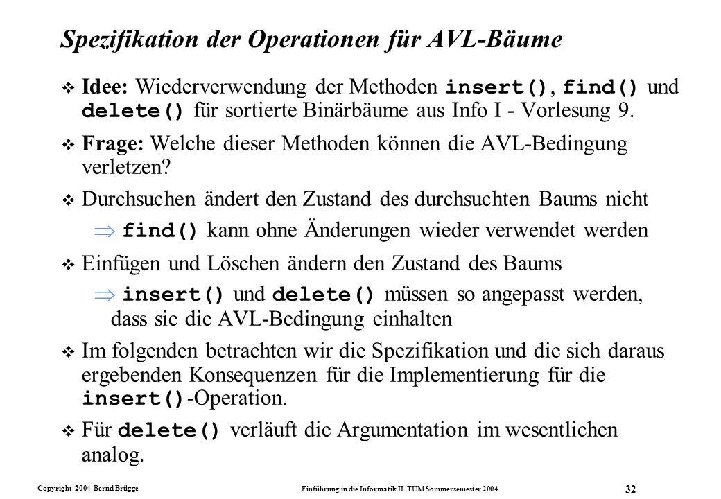 Copyright 2004 Bernd Brügge Einführung in die Informatik II TUM Sommersemester 2004 32 Spezifikation der Operationen für AVL-Bäume  Idee: Wiederverwe