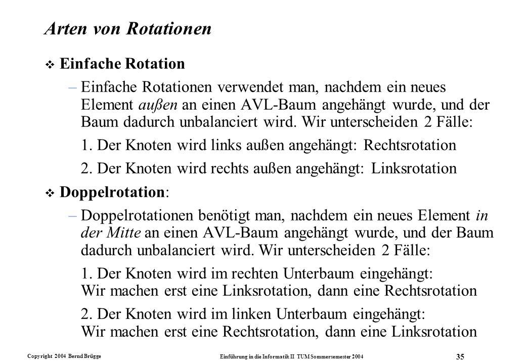 Copyright 2004 Bernd Brügge Einführung in die Informatik II TUM Sommersemester 2004 35 Arten von Rotationen v Einfache Rotation –Einfache Rotationen v