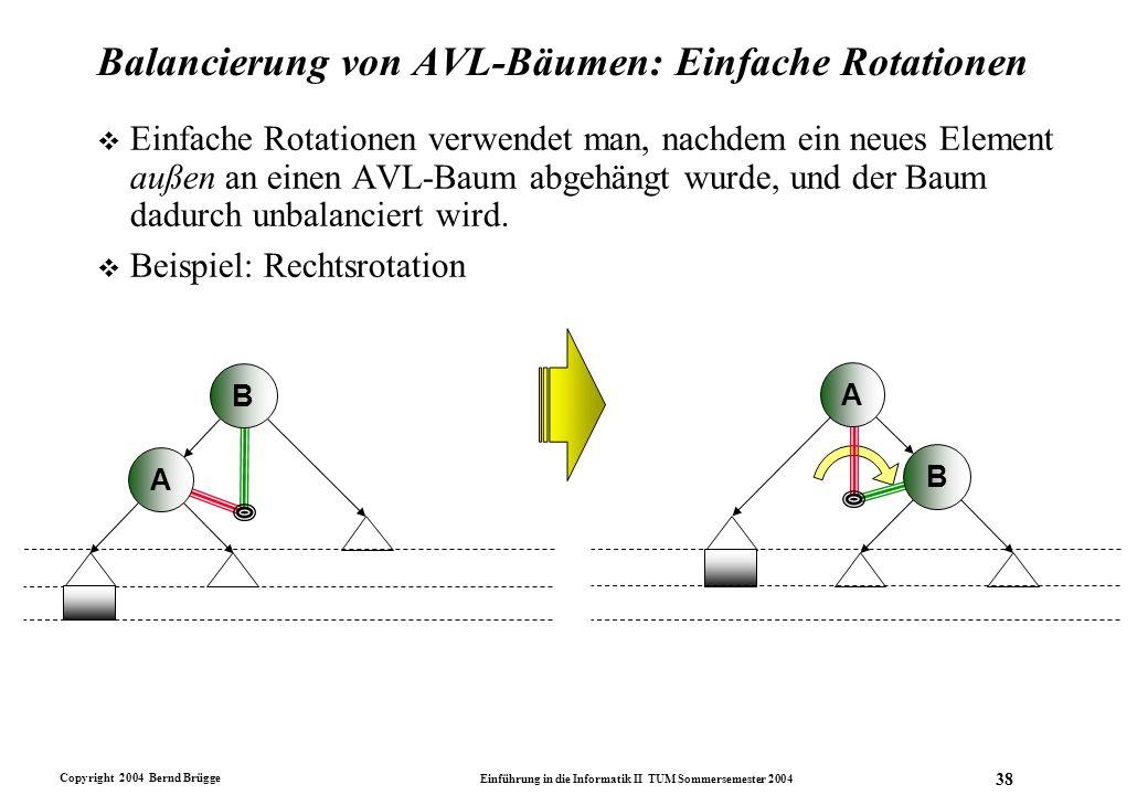 Copyright 2004 Bernd Brügge Einführung in die Informatik II TUM Sommersemester 2004 38 Balancierung von AVL-Bäumen: Einfache Rotationen v Einfache Rot