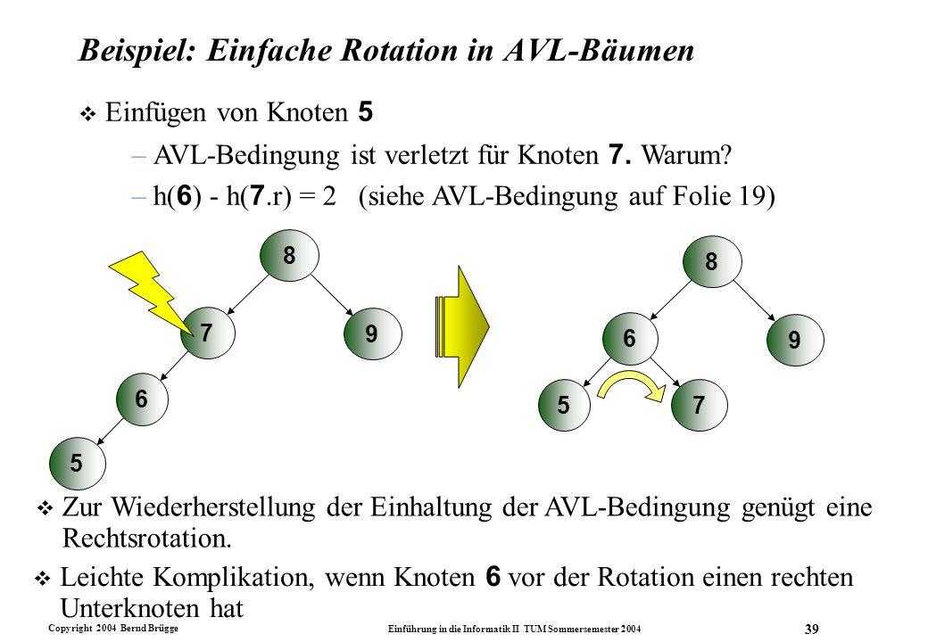 Copyright 2004 Bernd Brügge Einführung in die Informatik II TUM Sommersemester 2004 39 Beispiel: Einfache Rotation in AVL-Bäumen  Einfügen von Knoten