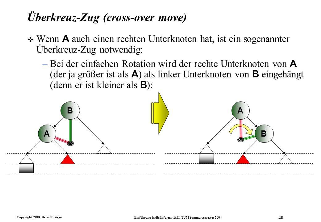Copyright 2004 Bernd Brügge Einführung in die Informatik II TUM Sommersemester 2004 40 Überkreuz-Zug (cross-over move)  Wenn A auch einen rechten Unt