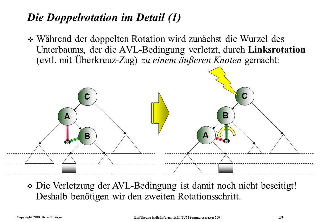 Copyright 2004 Bernd Brügge Einführung in die Informatik II TUM Sommersemester 2004 43 Die Doppelrotation im Detail (1) v Während der doppelten Rotati
