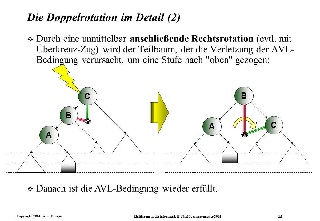 Copyright 2004 Bernd Brügge Einführung in die Informatik II TUM Sommersemester 2004 44 Die Doppelrotation im Detail (2) v Durch eine unmittelbar ansch