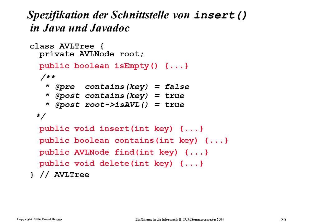 Copyright 2004 Bernd Brügge Einführung in die Informatik II TUM Sommersemester 2004 55 Spezifikation der Schnittstelle von insert() in Java und Javado