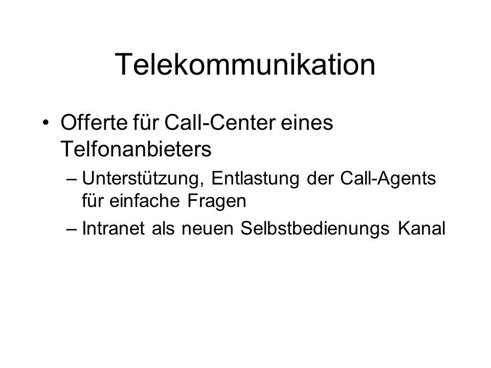 Telekommunikation Offerte für Call-Center eines Telfonanbieters –Unterstützung, Entlastung der Call-Agents für einfache Fragen –Intranet als neuen Selbstbedienungs Kanal