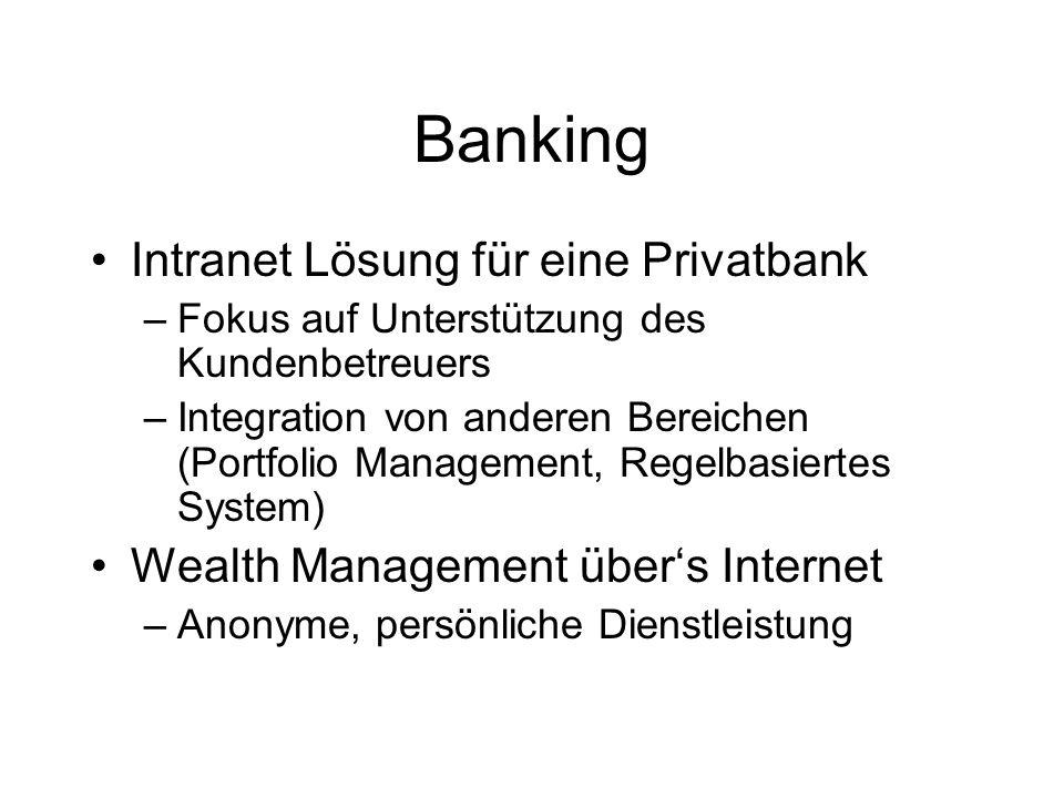 Banking Intranet Lösung für eine Privatbank –Fokus auf Unterstützung des Kundenbetreuers –Integration von anderen Bereichen (Portfolio Management, Regelbasiertes System) Wealth Management über's Internet –Anonyme, persönliche Dienstleistung
