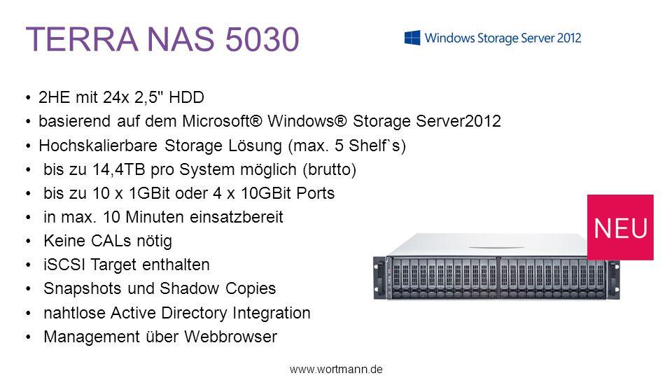 TERRA NAS 5030 2HE mit 24x 2,5 HDD basierend auf dem Microsoft® Windows® Storage Server2012 Hochskalierbare Storage Lösung (max.