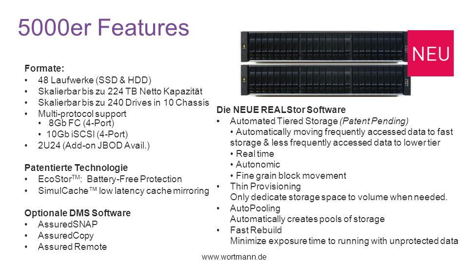 5000er Features Formate: 48 Laufwerke (SSD & HDD) Skalierbar bis zu 224 TB Netto Kapazität Skalierbar bis zu 240 Drives in 10 Chassis Multi-protocol s