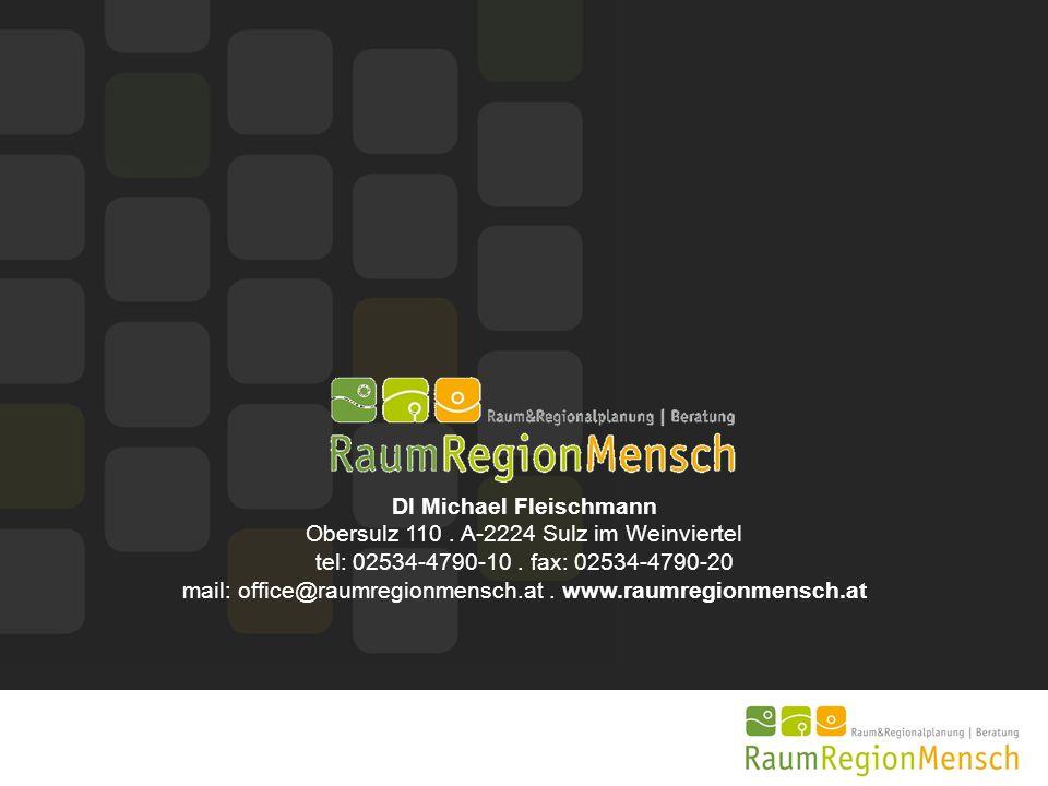 DI Michael Fleischmann Obersulz 110. A-2224 Sulz im Weinviertel tel: 02534-4790-10. fax: 02534-4790-20 mail: office@raumregionmensch.at. www.raumregio