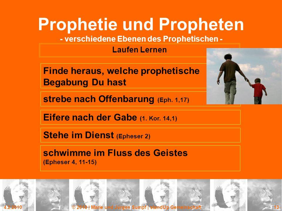 4.2.2010© 2010 | Marie und Jürgen Sumpf | standUp Gemeinschaft 13 Prophetie und Propheten - verschiedene Ebenen des Prophetischen - Laufen Lernen Find