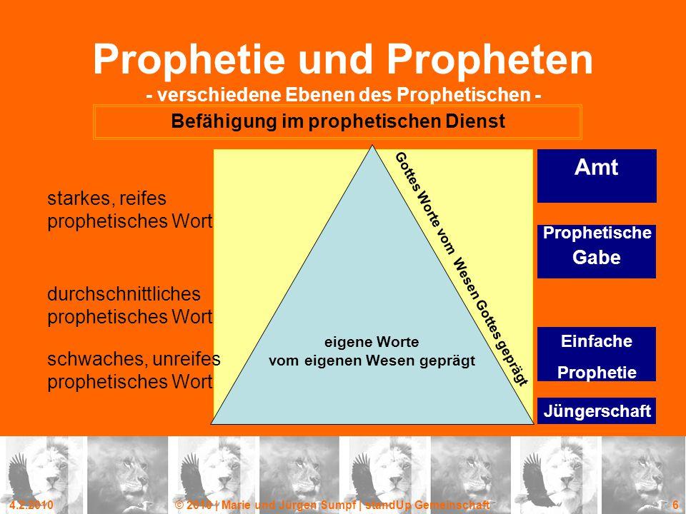 4.2.2010© 2010 | Marie und Jürgen Sumpf | standUp Gemeinschaft 6 Prophetie und Propheten - verschiedene Ebenen des Prophetischen - Befähigung im proph