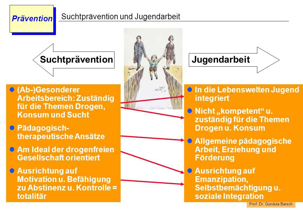 """Prof. Dr. Gundula Barsch Prävention Suchtprävention und Jugendarbeit In die Lebenswelten Jugend integriert Nicht """"kompetent"""" u. zuständig für die Them"""
