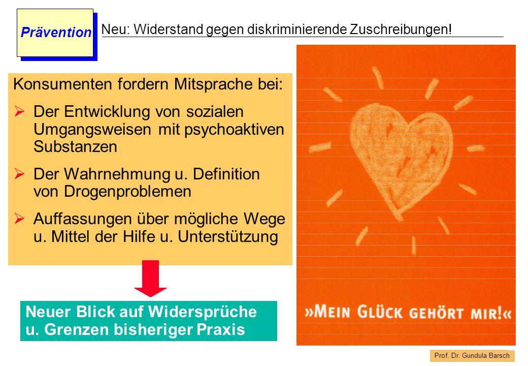 Prof. Dr. Gundula Barsch Prävention Neu: Widerstand gegen diskriminierende Zuschreibungen! Konsumenten fordern Mitsprache bei:  Der Entwicklung von s