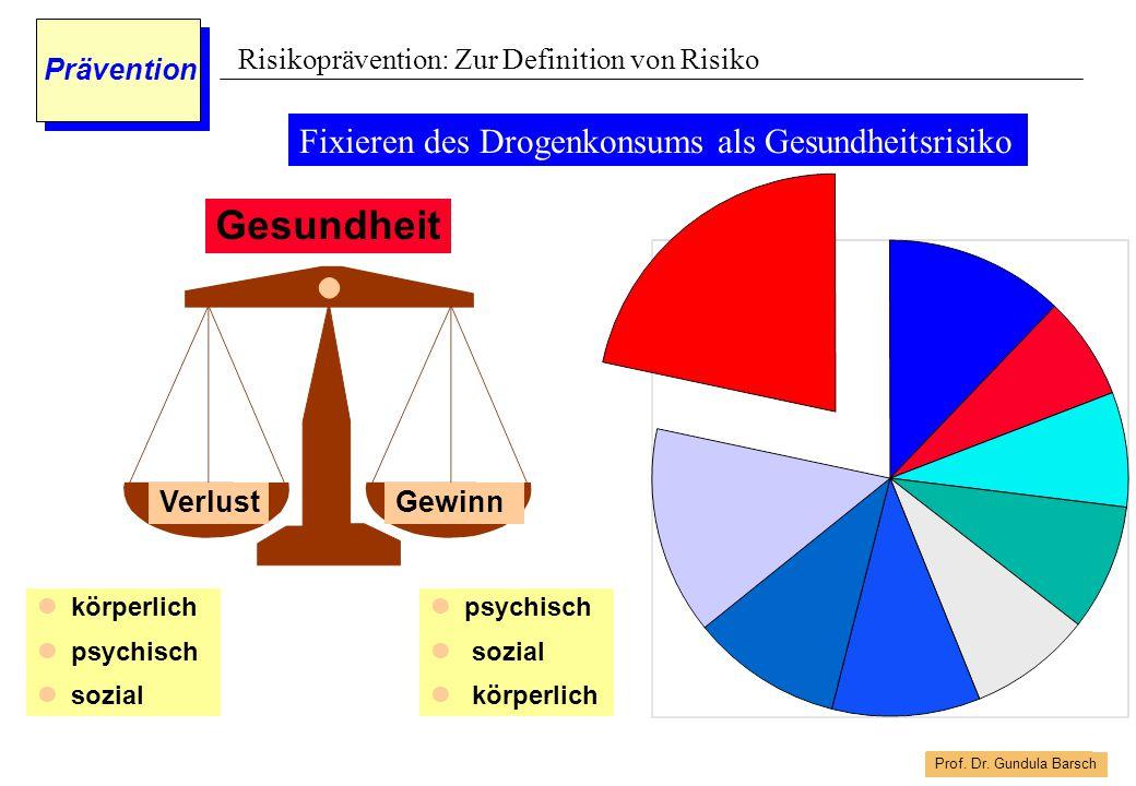 Prof. Dr. Gundula Barsch Prävention Fixieren des Drogenkonsums als Gesundheitsrisiko Gesundheit körperlich psychisch sozial psychisch sozial körperlic