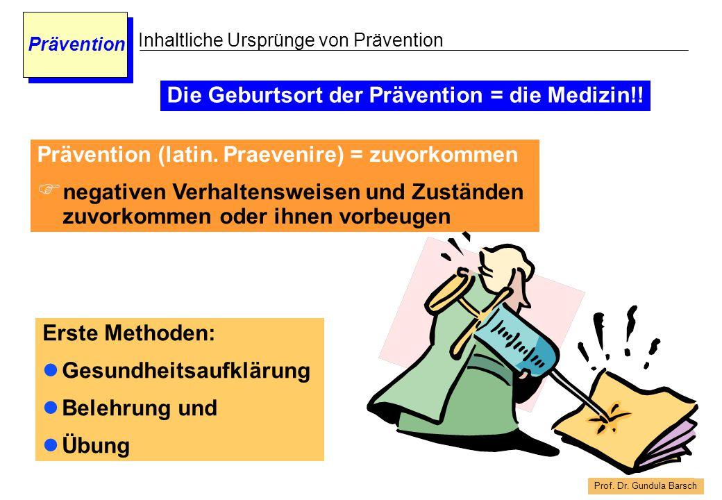 Prof. Dr. Gundula Barsch Prävention Inhaltliche Ursprünge von Prävention Erste Methoden: Gesundheitsaufklärung Belehrung und Übung Prävention (latin.