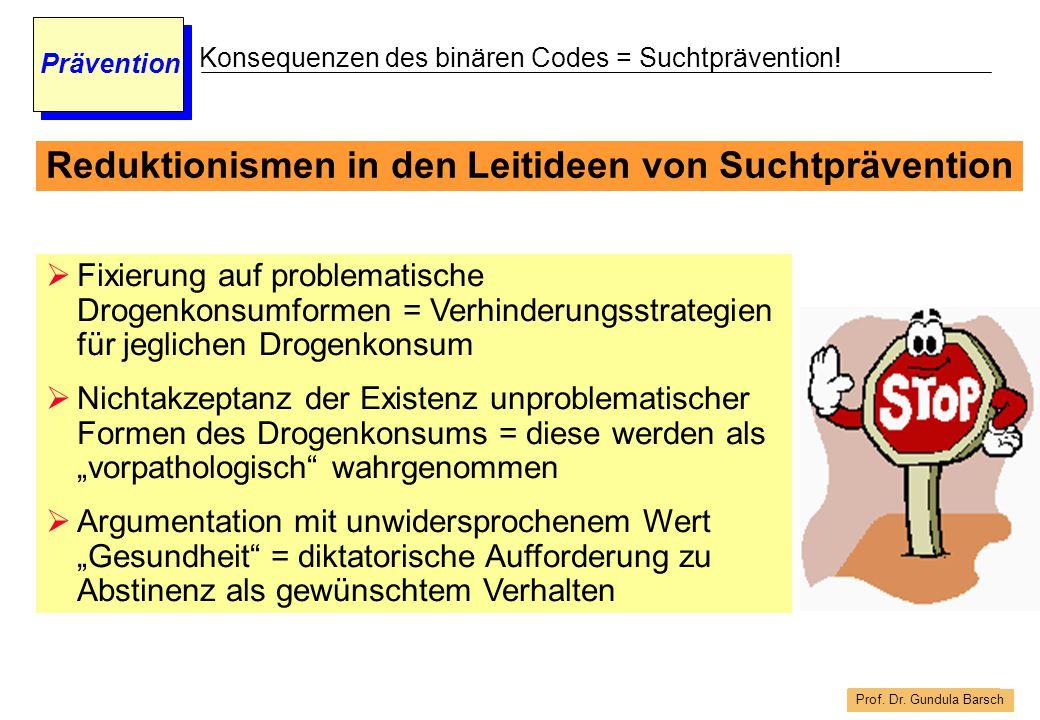 Prof. Dr. Gundula Barsch Prävention Konsequenzen des binären Codes = Suchtprävention!  Fixierung auf problematische Drogenkonsumformen = Verhinderung