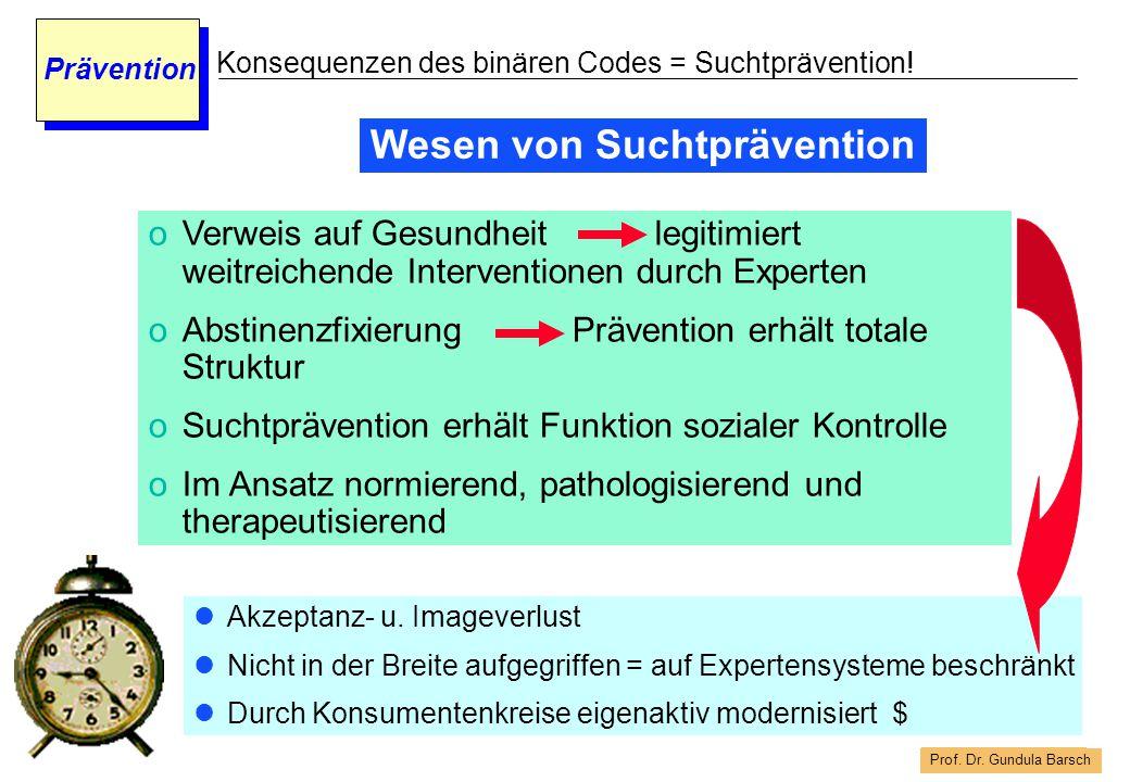 Prof. Dr. Gundula Barsch Prävention Konsequenzen des binären Codes = Suchtprävention! oVerweis auf Gesundheit legitimiert weitreichende Interventionen